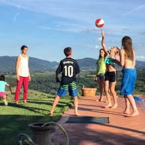 Cousins at our villa in Tuscany.